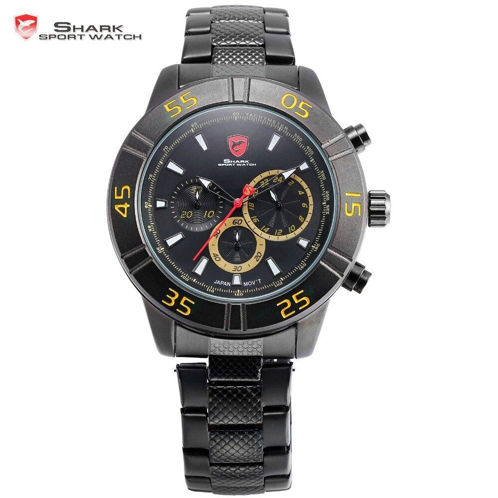 Sandbar Shark Sport Watch 24 Hours Chronograph Black Stainless Steel Band Yellow Numbers Quartz Mens Running Wristwatch / SH304