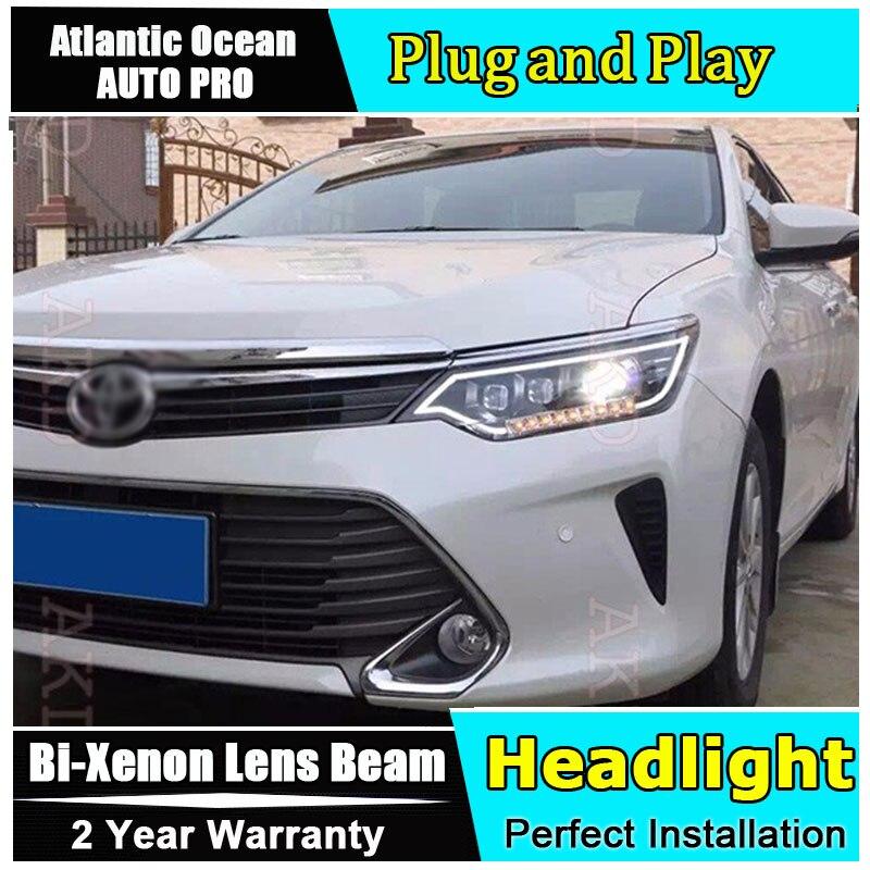 Car Styling Led Head Lamp For Toyota Camry Headlight V55 Headlamp 2017 Drl Hid Kit Bi Xenon Lens Low Beam