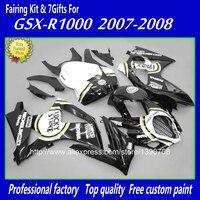 Free customize fairings set for SUZUKI K7 GSXR1000 07 08 white black LUCKY STRIKE fairing kit GSXR 1000 2007 2008 bodywork BM55