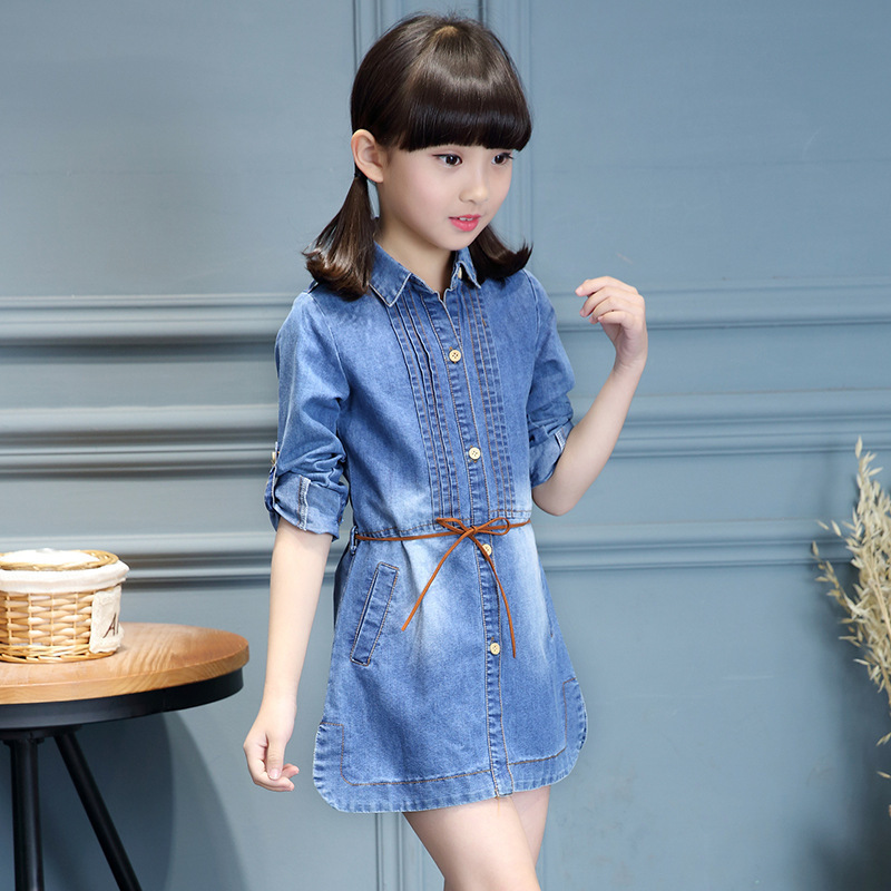 Clothes For Girls 4 5 6 7 8 9 10 11 12 13 Years Denim Dress 2018 Spring Elegant Dresses New Fashion Children Clothing Robe Fille 2018 spring new children girls elegant