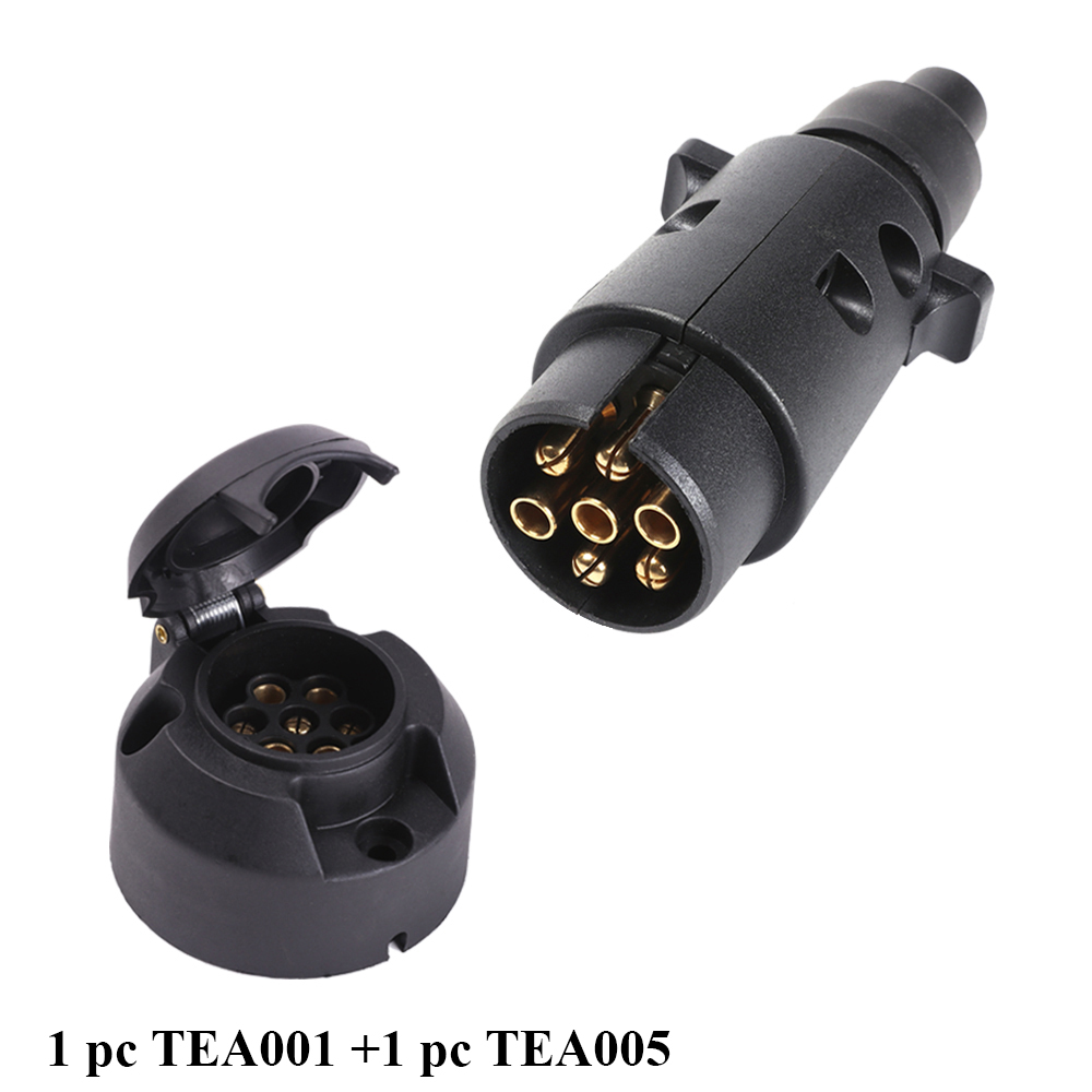 Image 2 - AOHEWEI 1 pc 7 Pin Trailer Plug and 1 pc 7 Pin Caravan Socket  12V 7 Way Round Standard European Car  Trailer Truck Connector-in Cables, Adapters & Sockets from Automobiles & Motorcycles