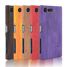 For Sony Xperia X Compact F5321 Case Hard PC+PU Leather Retro wood grain Phone Cover Luxury Wood