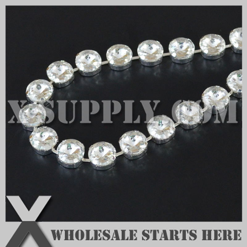 12mm Round Rivoli Rhinestone Cup Chain for Bracelet Jewelry Decoration Crystal Color in Silver Chain Center
