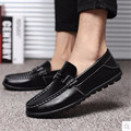 Men Simple Luxury Cheap Sequined Sewing Genuine leather Round toe Winter man dress shoes Driving summer style Plus sizes (7-16)