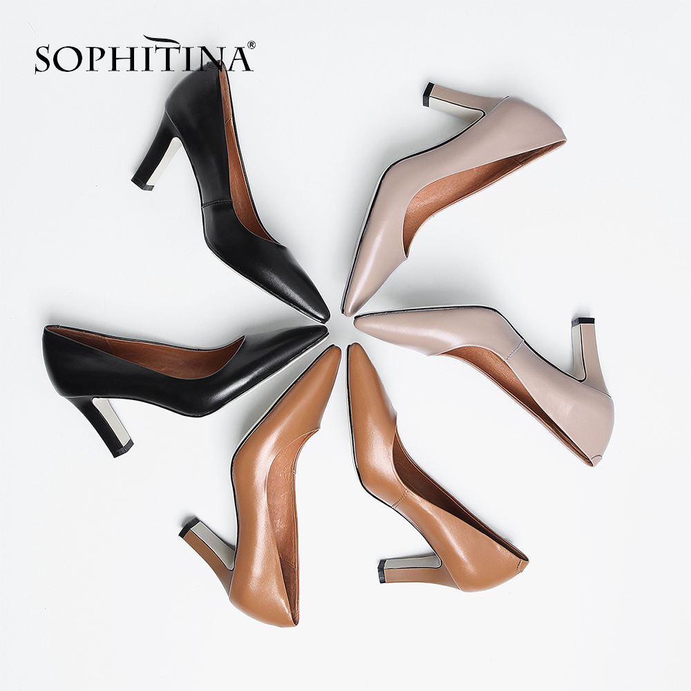 SOPHITINA Fashion Women's Pumps Comfortable Square Heel Sexy Pointed Toe Slip-on Shoes Genuine Leather Hot Sale New Pumps MO174