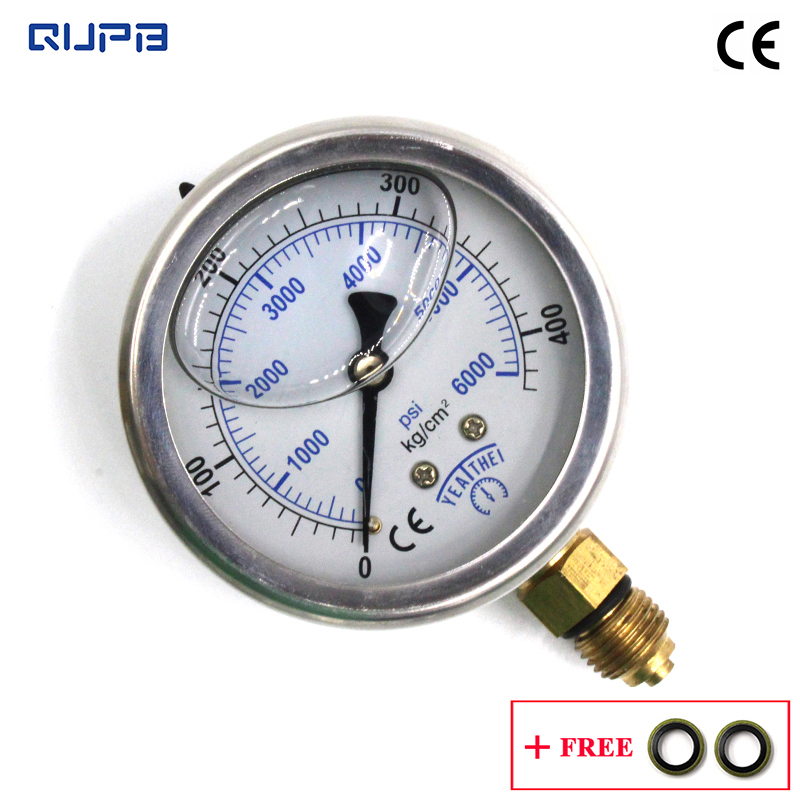 QUPB 63mm Micro Mini Dial Indicator Oil Filled Diving Pressure Gauges 6000PSI Stainless Steel Case Brass Connector G1/4  GEL003
