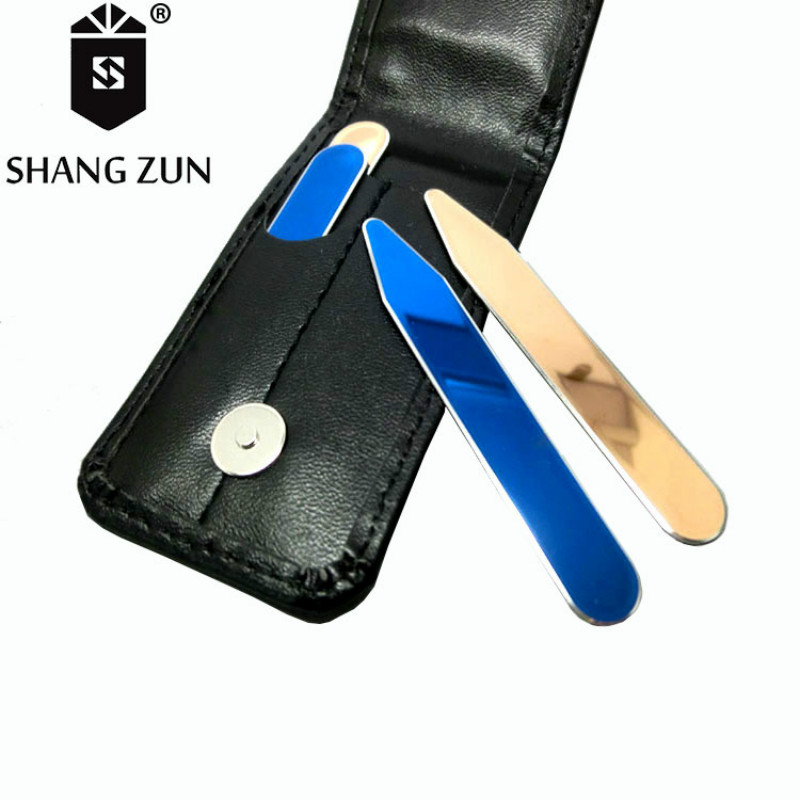 SHANG ZUN 4 PCS Double Mirror Polished Collar Stiffeners Stays Bones Set For Dress Shirt Men's Gifts