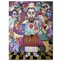 No Framed Handmade High Quality Abstract Christian Oil Painting on Canvas Modern Design Jesus and Baby Oil Painting for Wall Art
