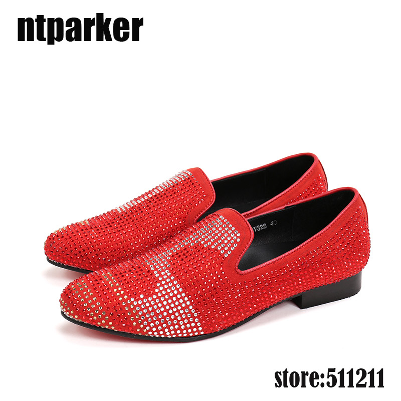 ntparker Fashion Classic dress mens Shoes genuine leather red /black loafers slip on men prom shoes italian luxury, big size 46 flat bottomed luxury mens loafers mark thread heel cover pedal leather strappy solid italian cowhide slip resistant soft leather