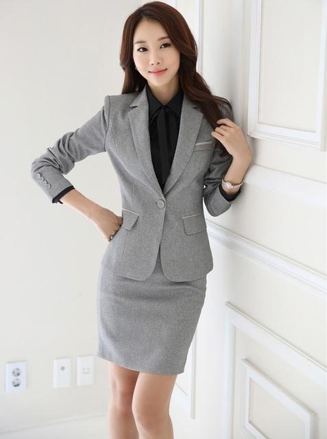 Plus Size 4XL Formal Styles Uniformes Ladies Escritório Trabalho Carreira ternos Com Coletes E Conjunto Saia 2015 Outono Inverno Blazers cinza