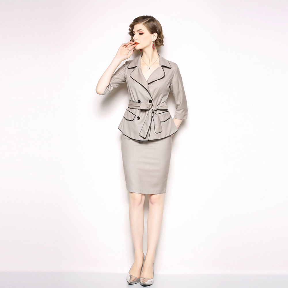 Business Casual Suit Female 2019 Summer New Fashion Slim Temperament Suit Jacket With Belt Professional Skirt Two-Piece Suit