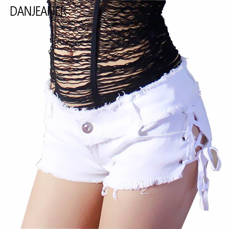 Danjeaner Sexy Summer Denim Ripped Hole Jeans Shorts Women Skinny Low Waist Tassel Elastic Lace Up Bandage Mini Hot Pants