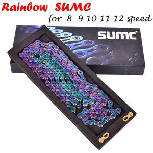 Image 2 - SUMC Multi Colored 9/10/11/12 Speed Bicycle Chain   Rainbow Hollow Semi Hollow Magic Buckle Road Bike MTB Compatible 116/126L