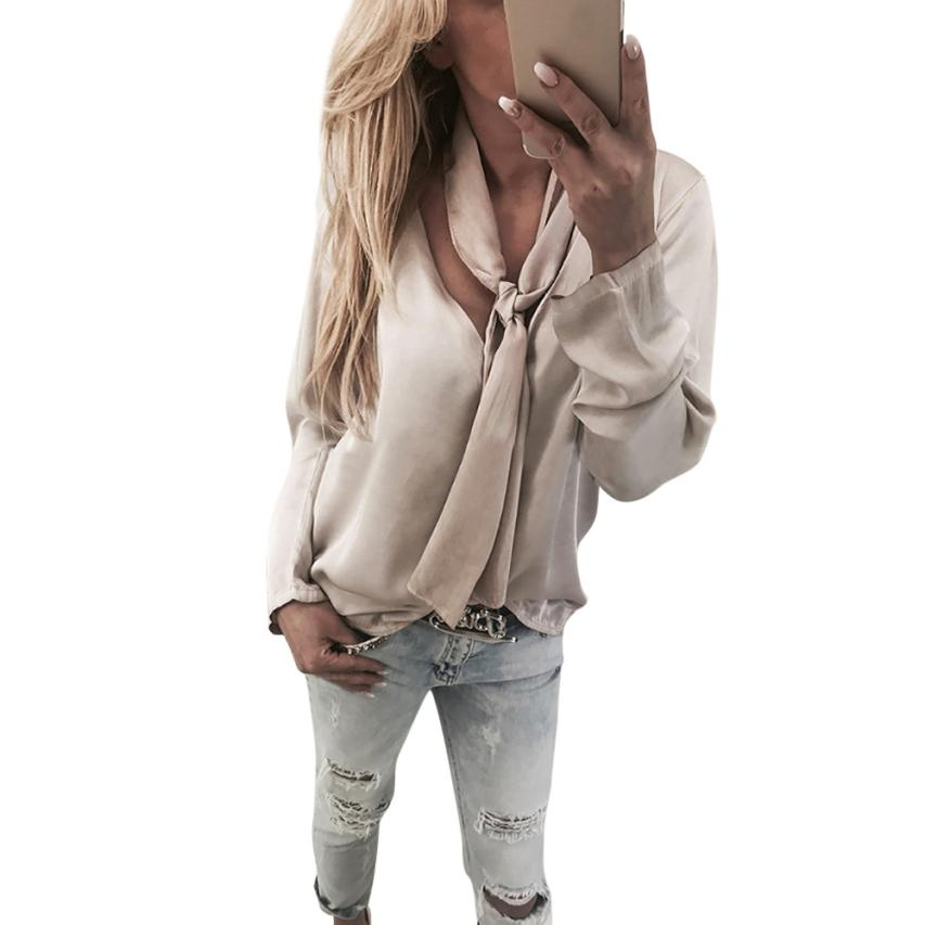 2018 Fashion Womens Ladies Solid Blouse top Long Sleeve V Neck Solid Design Casual Blouse Tops mujer blusa P55X ...