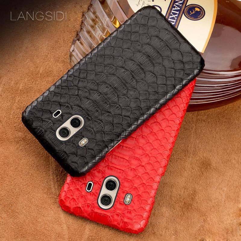 Wangcangli coque de téléphone portable pour Huawei Mate 10 étui de téléphone portable avancé personnalisé peau de python naturel étui en cuir
