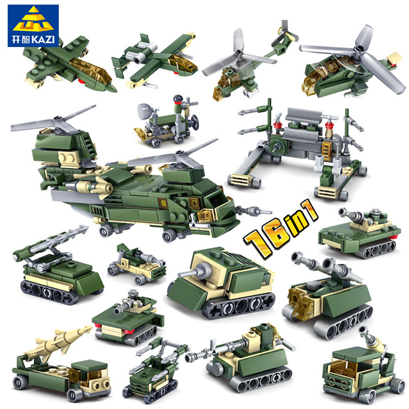KAZI 16 in1 Military Building Blocks Bricks City WW2 Helicopter Plane Action Figure Bricks Playmobil Toys for Children