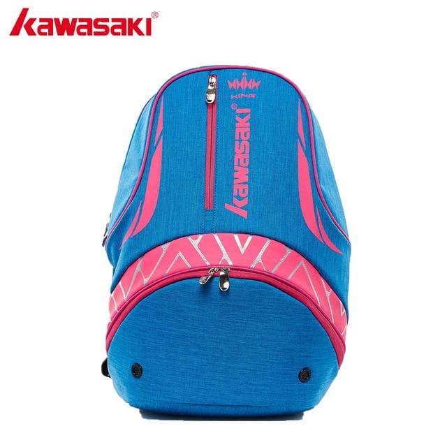 Kawasaki New Badminton Bag Backpack Three  Racket Capacity Unisex Blue Badminton Tennis Racket