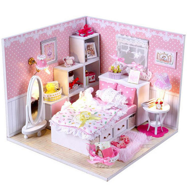 Diy 3d Wooden Dollhouse Miniature Princess Girl S Pink Bedroom Model