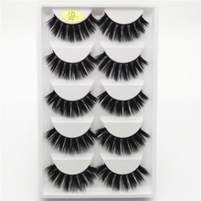 Thick curling 3D false eyelashes black cotton stalk eye lashes pack bride lady women girl makeup eyelash hand made 5 pairs