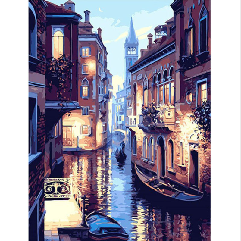 Frameless Wall Art Living Room Europe Abstract By Numbers DIY Digital Oil Painting Canvas Painting Venice Night Landscape