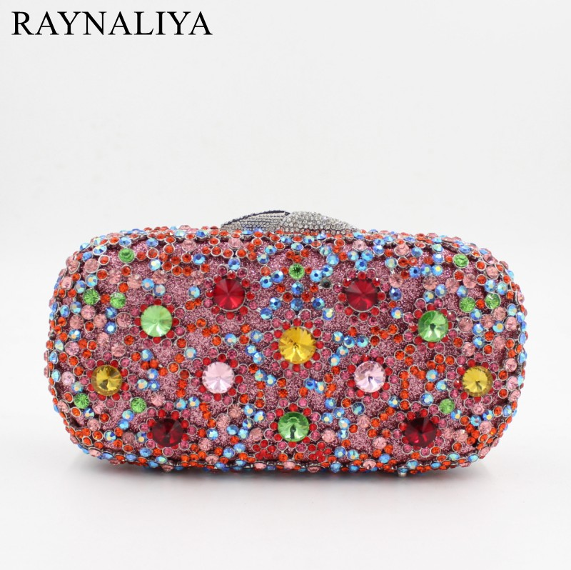 Newest Colourful Women Evening Bags Luxury Rhinestone Clutch Bag Crystal Handbags Party Purse Wedding Handbag Smyzh-e0348 women luxury rhinestone clutch evening handbag ladies crystal wedding purses dinner party bag bird flower purse zh a0296