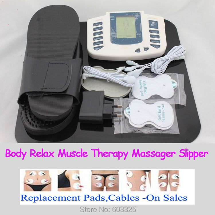 JR-309A Multi-functional Digital Electrical Tens Acupuncture Therapy Massager Slimming Body Stimulator Machine + therapy slipper 2017 hot sale mini electric massager digital pulse therapy muscle full body massager silver