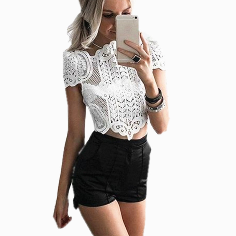 09e6fc64bc7df Sexy Lace Crop Top short sleeve shirt blouse White Crochet Top Hollow party  Tank Floral Beach camis Womens Bustier bra Camisole