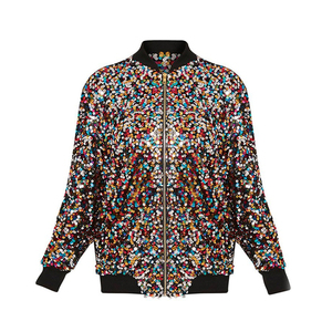 Image 5 - Fall 2019 Chaqueta Lentejuelas Mujer Sequin Jacket Women Basic Coats Cardigan Bomber Jacket Women Long Sleeve Baseball Jackets