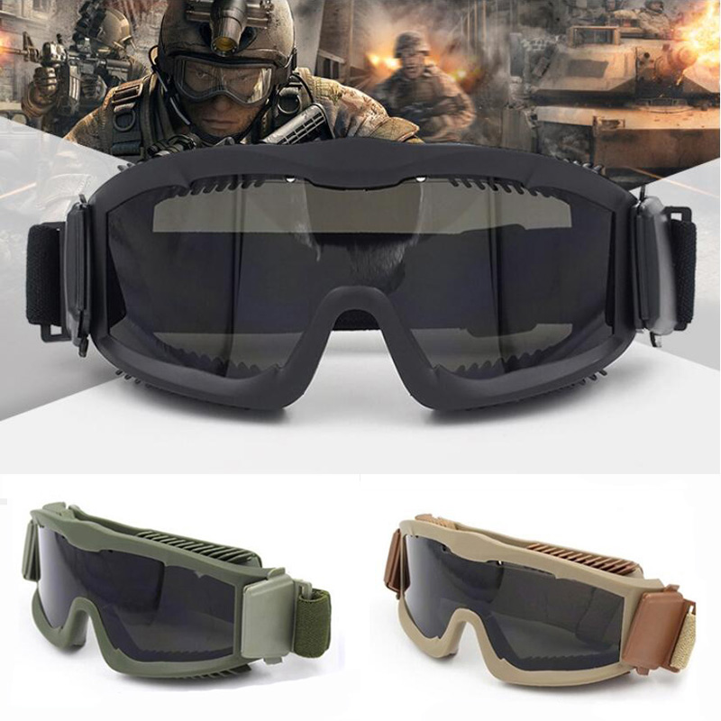 Men's Ballistic Military 3 Lens Tactical Goggles, US Tactical Army Sunglasses Anti-fog Helmet Goggles Airsoft Outdoor Glasses
