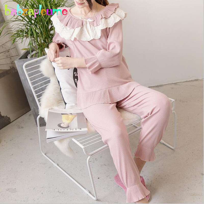 Spring Fall Maternity Pajamas For Breast Feeding Clothing Sets Knit Cotton Tops+Pants Women Pregnancy Nursing Sleepwear BC1806-1Spring Fall Maternity Pajamas For Breast Feeding Clothing Sets Knit Cotton Tops+Pants Women Pregnancy Nursing Sleepwear BC1806-1