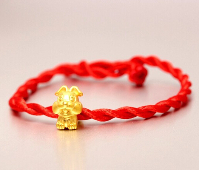 Fashion Arrival 3D 999 24K Yellow Gold 12 Chinese Zodiac Cute Rabbit knitted Bracelet цена