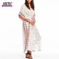 Jastie V Neck Batwing Sleeve Kaftan Women Dress Embroidered Pom Pom Cotton Mid Dresses Adjustable Waist