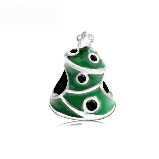Free Shipping Christmas Gift 1pc Silver Green Tree Big Hole Bead Charms Fit  European Pandora Style