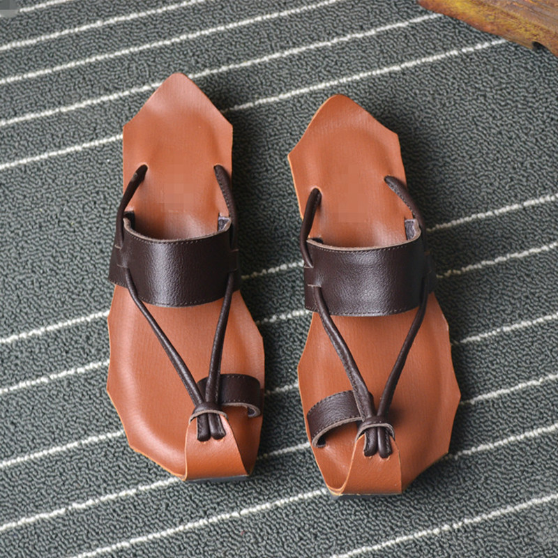 ФОТО Foreign Trade Flip Flops Summer Hot Sale Women Flats Slippers Casual Leather Sandals Personality Cool Handmade Wedge Slippers