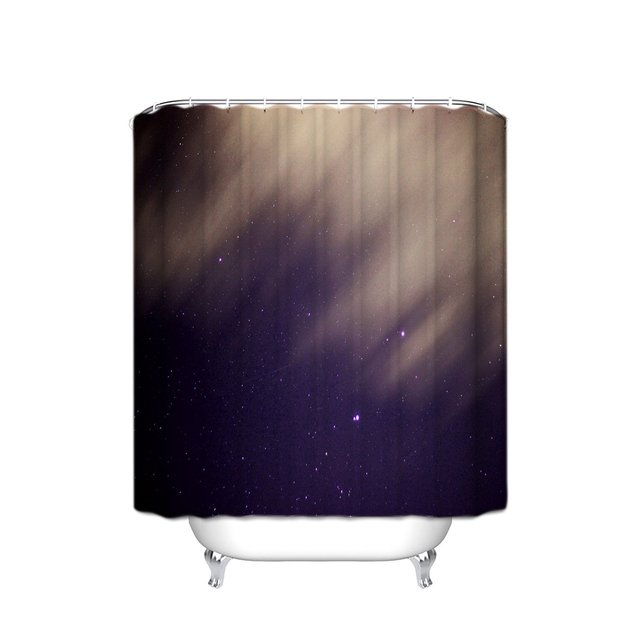 TH Home Stary Night Universe Shower Curtain Purple Stars Bath ShowerWith Hooks 60X72In