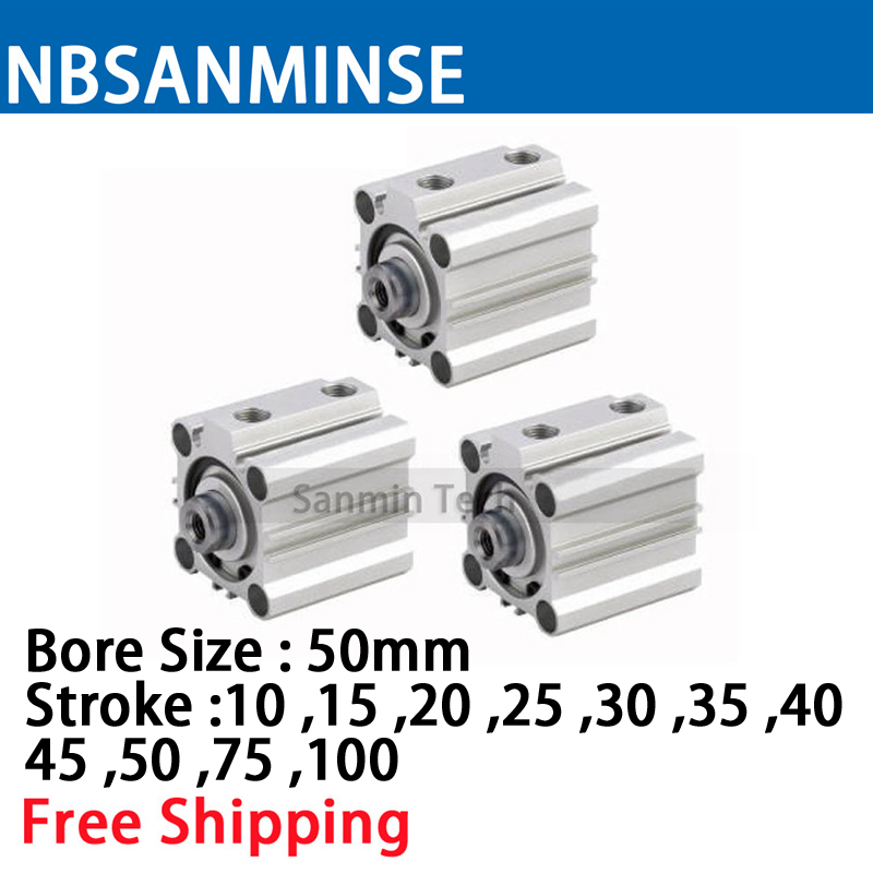 CQ2B 50mm Bore Size Compact Cylinde SMC Type Double Acting Single Rod Pneumatic ISO Compact Cylinder High Quality Sanmin high quality double acting pneumatic gripper mhy2 25d smc type 180 degree angular style air cylinder aluminium clamps