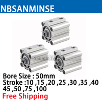 NBSANMINSE CQ2B50 Compact Cylinder SMC Type Double Acting ISO Pneumatic Cylinder Air Cylinder