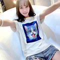 M-2XL 2016 Fashion Character Cats Print Women 3D T Shirts Summer Short Sleeve Cute Ladies Shirt Harajuku Cats Shirt Female TS32