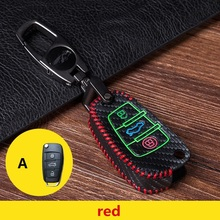 Leather car key case For Audi Q3 A4L A6L Q5 Q7 A1 A3 flip key cover accessories with keychain car styling folding key shell