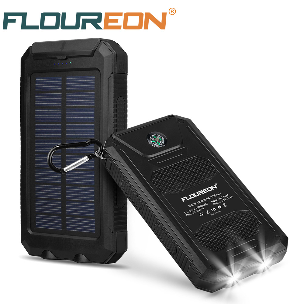 size 40 9078e fe629 US $17.99 10% OFF|Floureon 10000mAh Solar Panel Waterproof Power Bank Dual  USB Charger with 2 LED Light-in Solar Cells from Consumer Electronics on ...
