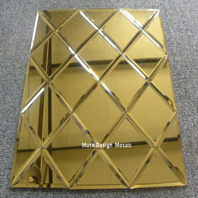 Puzzle Art Golden Glass Mirror Mosaic Tile, Showroom Lobby KTV ...