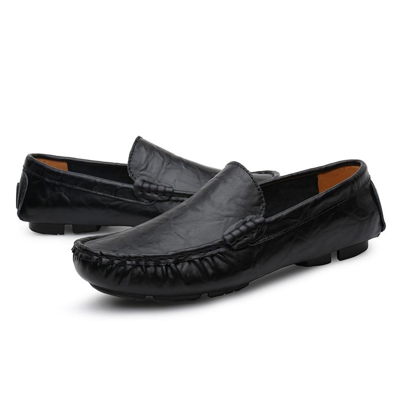 Plus Hommes La De Conduite En Noir yellow Homme blue Taille Cuir Chaussures 49 D'affaires Black Véritable Mocassins Pour 37 Appartements frqfxn