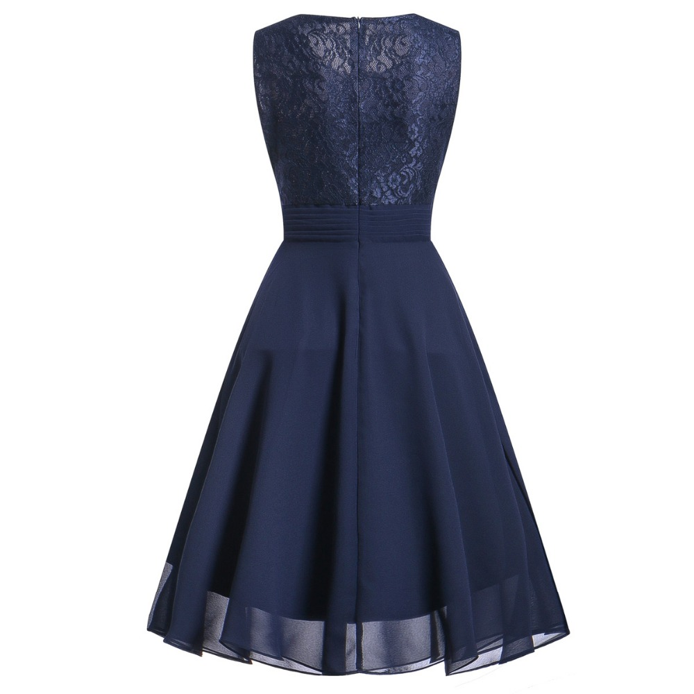 OML522L#Chiffon and Lace navy blue Short Bridesmaid Dresses Weddiong Party Dress 2018 Prom Gown Women Fashion Wholesale Clothing 10