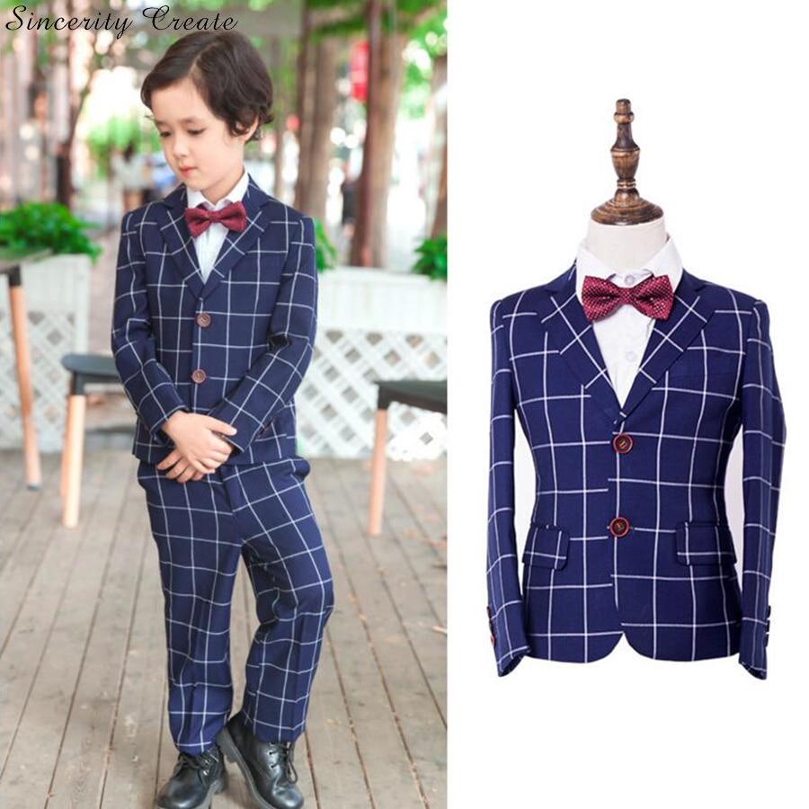 Фото England Plaid Blue Black Boys Suits For Weddings Formal Occasion Suits Boys Blazer Jacket+Pants+Vest Three Pieces Set KS-1623