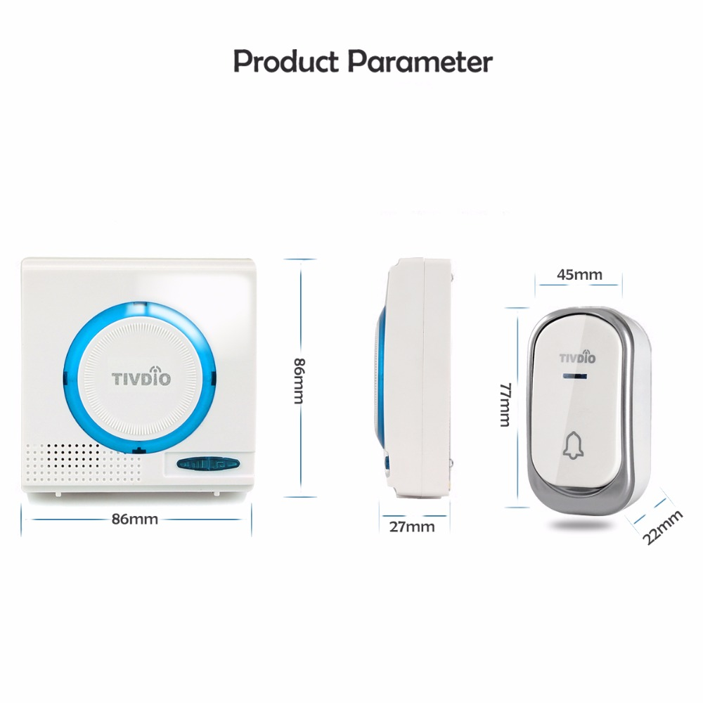 Image 4 - 2 color Wireless Battery Doorbell Chime Kit Remote door bell Button with Receiver LED Indicator F9508-in Access Control Kits from Security & Protection