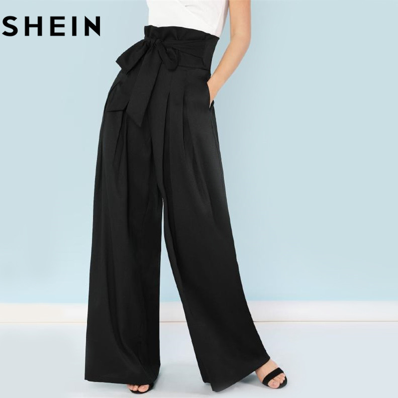 SHEIN Self Belted Box Pleated Palazzo Pants Women Elegant Loose Long Pants 2018 Fall Ginger High Waist Wide Leg Pants