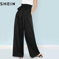 SHEIN Self Belted Box Pleated Palazzo Pants Women Elegant Loose Long Pants 2018 Fall Ginger High Waist Wide Leg Pants