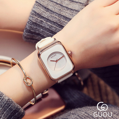 GUOU New Design Square Fashion Watch Women Brand Luxury Watches Leather Wrist Quartz WristWatch Relogio feminino Kobiet zegarka guou 2018 new quartz women watches luxury brand fashion square dial wristwatch ladies genuine leather watch relogio feminino