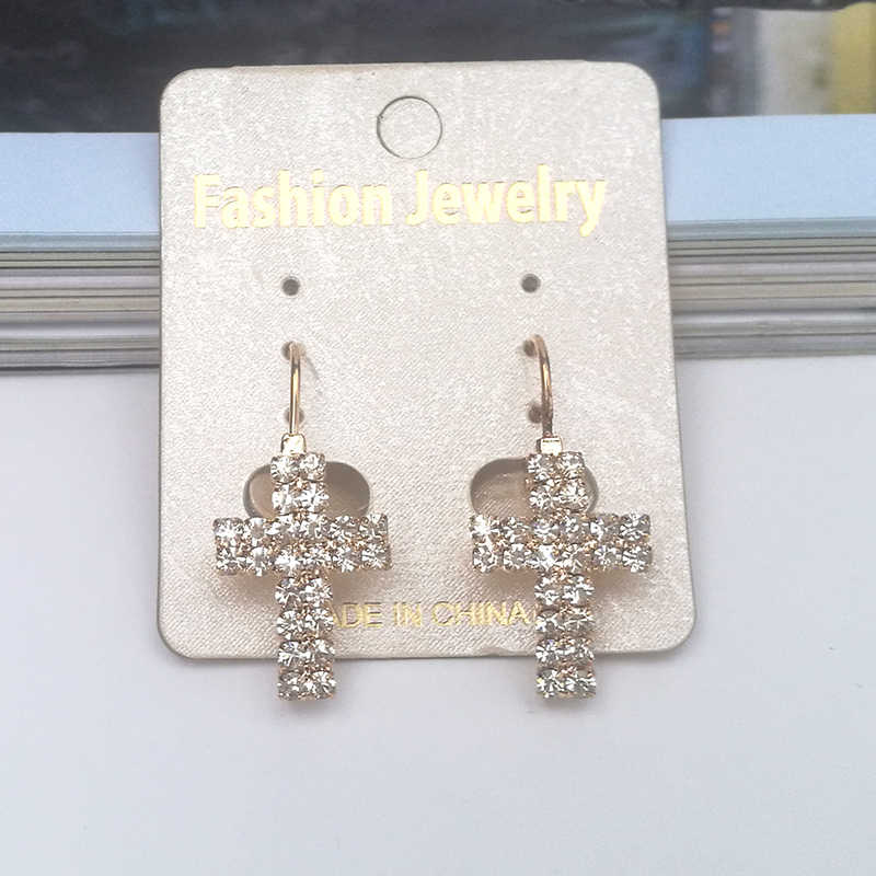 91178688d901 Moda elegante cristal Cruz pendientes para las mujeres Simple Casual creado Rhinestone  pendiente Brincos joyería regalos