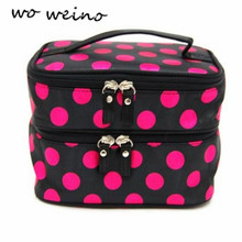 New Chic Lady's Wave Dot Case Make up Double Cosmetic Hand Bag for makeup brushes professional Beauty Tool Storage Toiletry
